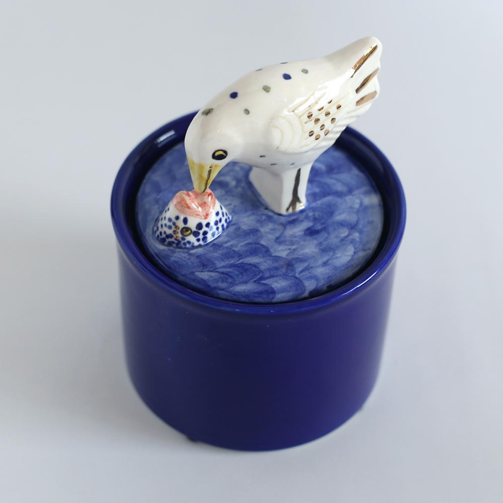 リサラーソン 置物  Jar with Lid-bird&fish/キャニスター/アート/陶器