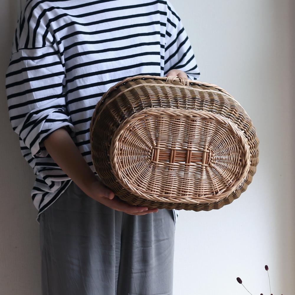 ラトビアの大きな楕円バスケット/かご/バスケット/ヤナギのかご