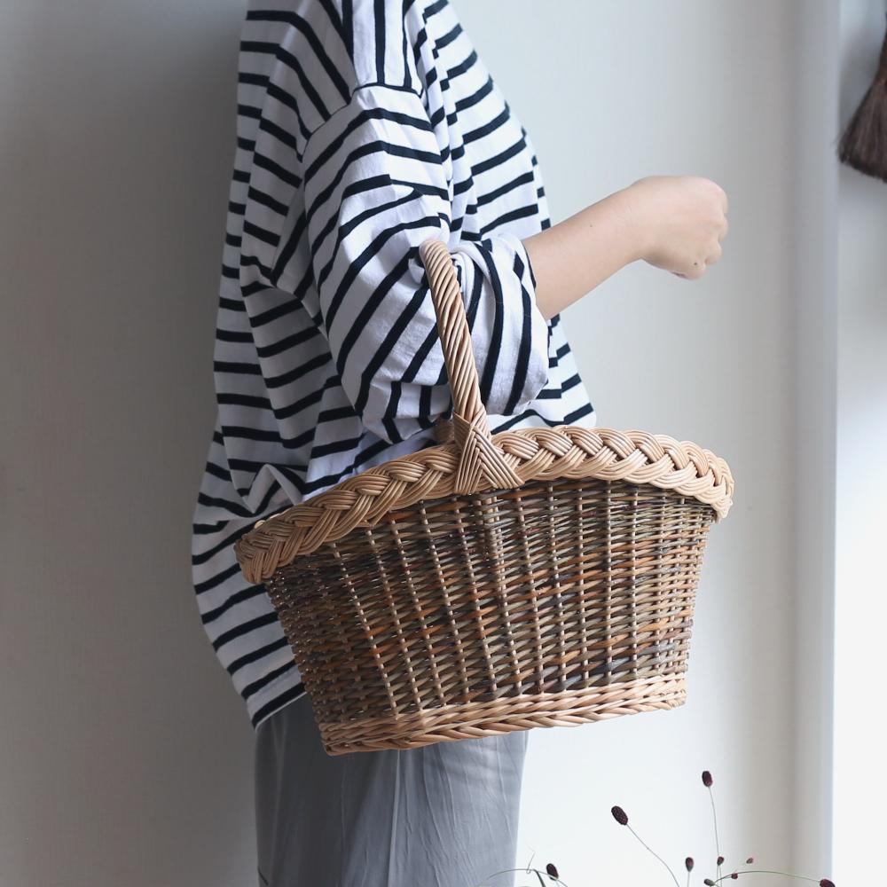 ラトビアの飾り編みバスケット/かご/バスケット/ヤナギのかご