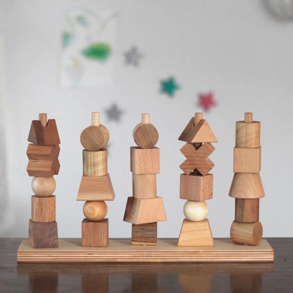wooden story ナチュラルスタッキングトイ/出産祝に人気のおしゃれな木のおもちゃ